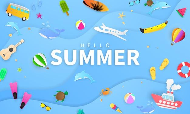 春夏フレームポスター、水泳リング挨拶背景。バナーイラストやポスターカードのデザイン