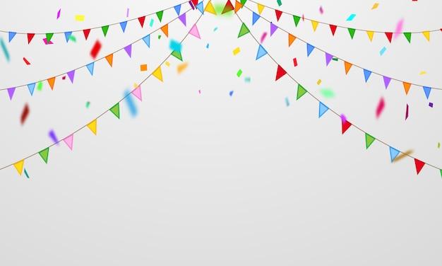 旗紙吹雪パーティーカラフルなお祝いの背景。