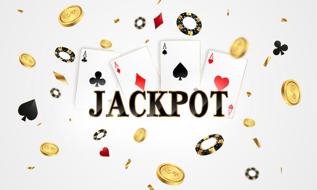 金色のきらびやかな賞金サインコインで飾られたカジノバナージャックポットデザイン。