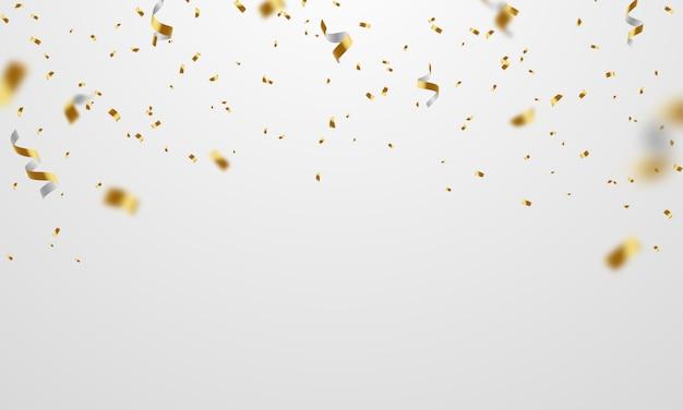 Конфетти золотые ленты. праздник роскоши приветствие богатые карты.