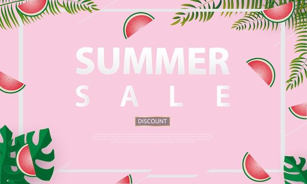 夏の販売のバナーのベクトル図