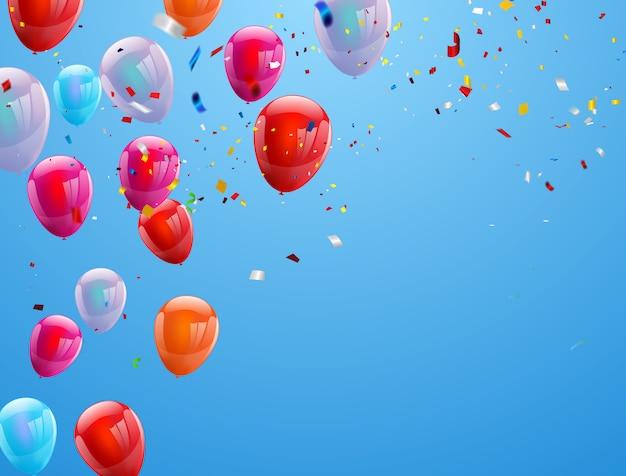 背景の誕生日用風船
