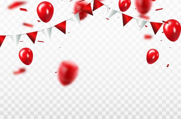 Красные воздушные шары, шаблон дизайна концепции конфетти с днем святого валентина