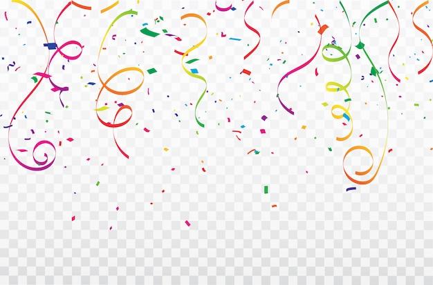 Разноцветные конфетти празднование карнавальных лент. роскошная поздравительная открытка.