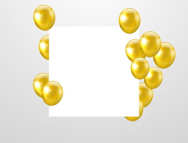 金の風船お祝いの背景