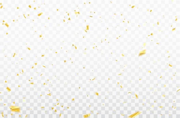 お祝いの紙吹雪とゴールドのリボン。