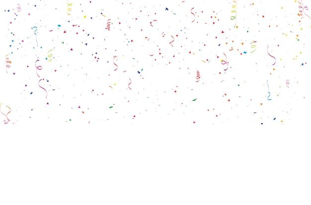 お祝い背景紙吹雪リボンフレーム。
