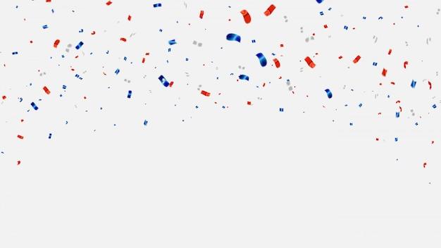 紙吹雪と赤と青のリボン。