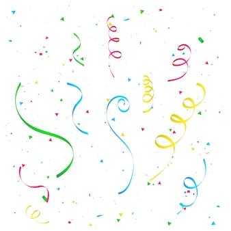 カラフルな紙吹雪コンセプトデザインのお祝い。カーニバルフライングストリーマとお祝いリボン