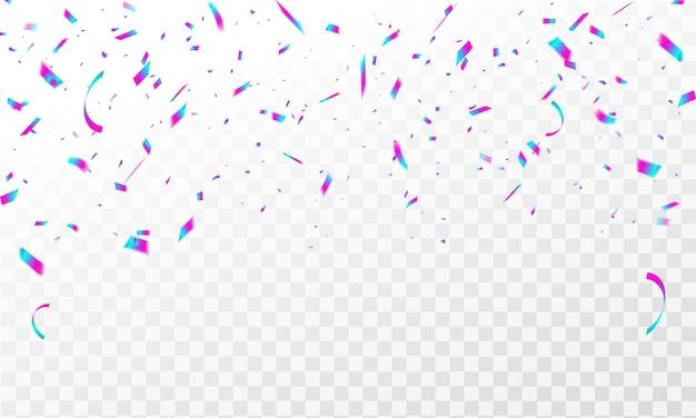 カラフルな紙吹雪とフレームの背景お祝いカーニバルリボン