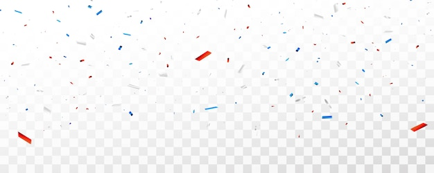 お祝いの紙吹雪と赤と青のリボン。
