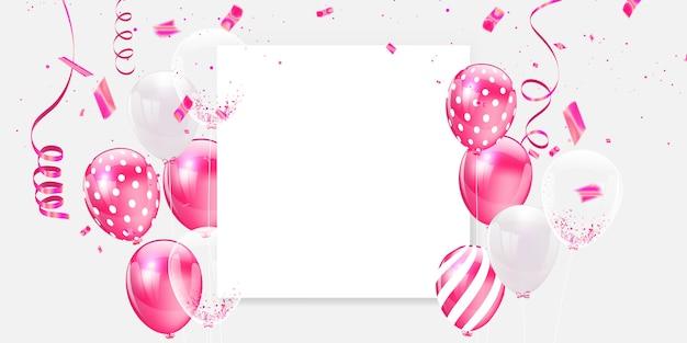 ピンクの白い風船