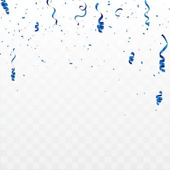 Праздничный фон с конфетти и синими лентами