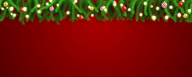 クリスマスパーティーと幸せな新年の赤いバナーの背景。