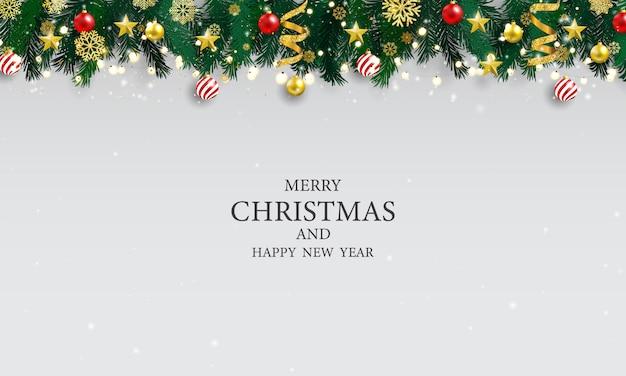 クリスマスパーティーのポスターと幸せな新年の背景。
