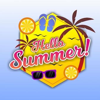 こんにちは夏のビーチの要素とレタリング