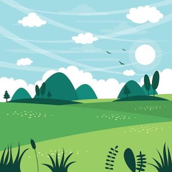 Векторная иллюстрация плоского пейзажа