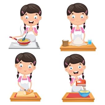 Векторная иллюстрация ребенка на кухне