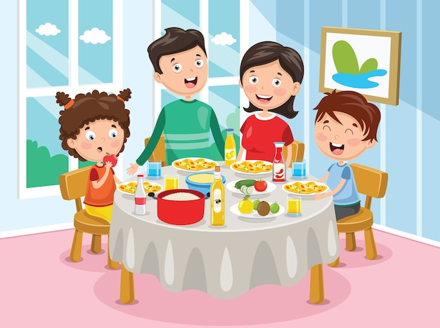 ディナーを持つ家族のベクトル図