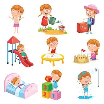 小さな女の子の日課のベクトル図セット