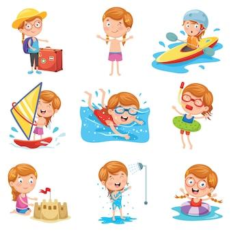 Векторная иллюстрация маленькой девочки в летний отпуск