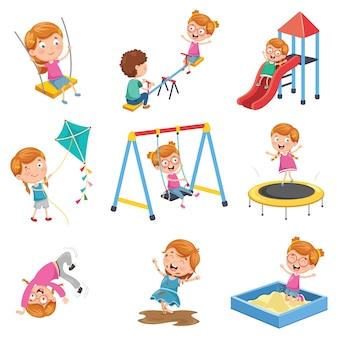 Векторная иллюстрация маленькая девочка, играющая в парке