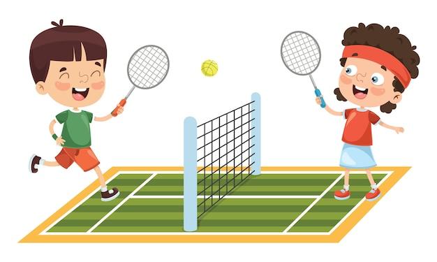 Иллюстрация мальчика играть в теннис