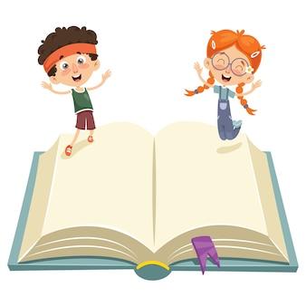 Векторная иллюстрация детей, прыгающих по книге