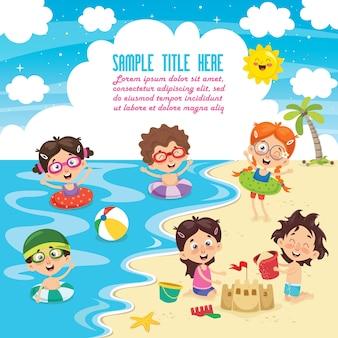 Векторная иллюстрация летних детей