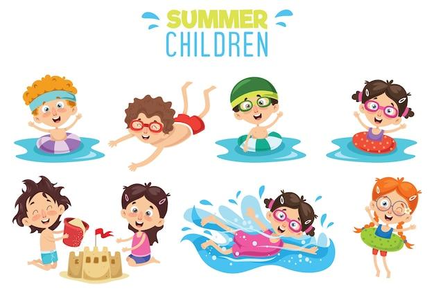 夏の子供たちのベクトルイラストレーション