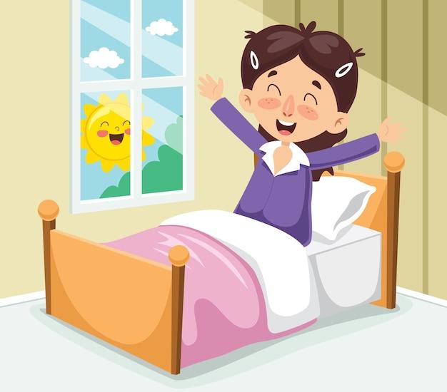 Векторная иллюстрация малыш пробуждения