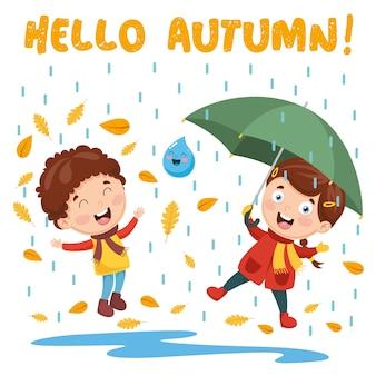 秋の子供たちのイラスト