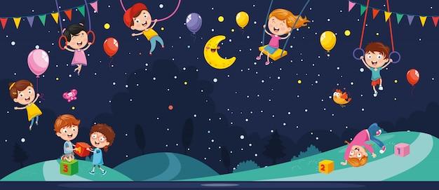 Векторная иллюстрация ночной сцены