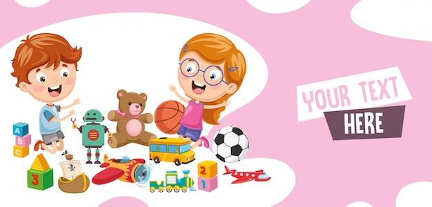 Векторная иллюстрация детей, играющих в игрушки
