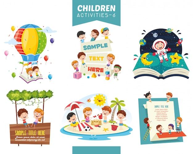 Векторные иллюстрации детей деятельности набор