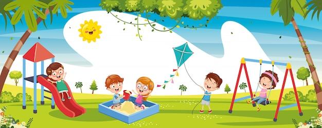 外で遊ぶ子供のイラスト