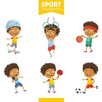 スポーツキャラクターのベクトル図