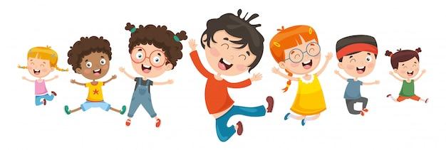 遊ぶ子供のベクトル図
