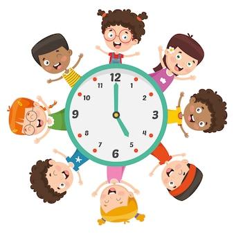 時間を示す子供たちのベクトル図