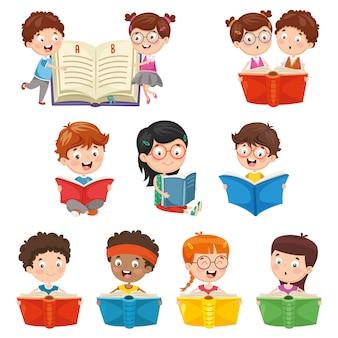 子供たちの読書のベクトル図