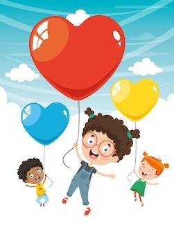風船で飛ぶ子供たちのベクトル図