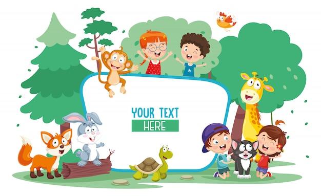 Векторная иллюстрация детей и животных