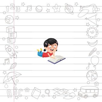 漫画の学生のベクトル図