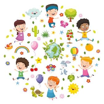 子供の自然の概念のベクトル図