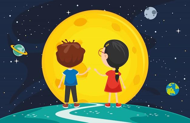 月の背景のイラスト