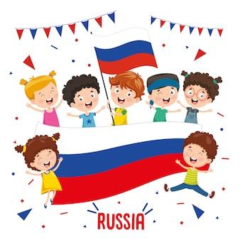 Векторная иллюстрация детей с флагом россии