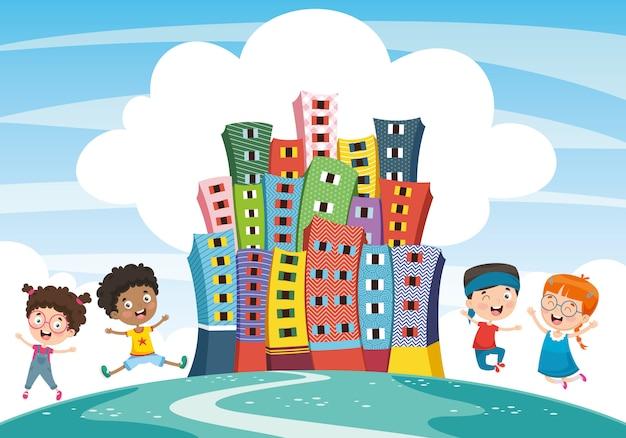 抽象的な都市と子供のベクトル図