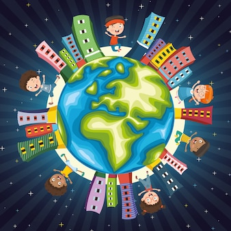 Векторная иллюстрация детей, играющих по всему миру