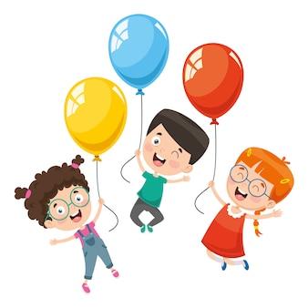 Векторная иллюстрация детей с воздушным шаром