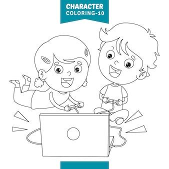 Векторная иллюстрация символов раскраски страницы